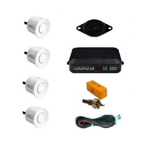 White 4 Point Rear Reverse Parking Sensor Kit Parking Aid with Buzzer