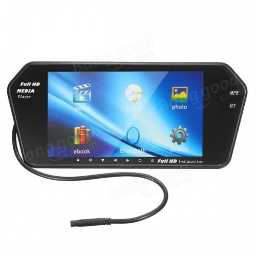 7 Inch TFT LCD Bluetooth Car Rear View Parking Mirror Monitor Reversing Camera Night Vision Black
