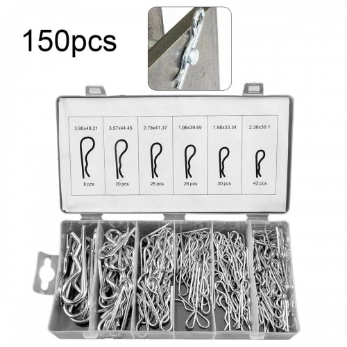 150 Pcs Wave-Type Cotter Pin Comnination Hitch Hair R Tractor Fasteners Clip