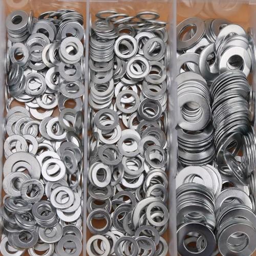 900Pcs M3 M4 M5 M6 M8 M10 Washer Assortment A3 Steel Plain Washers