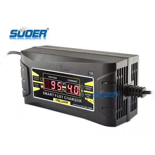 Suoer SON-1206D 12V 6A Smart Fast Battery Charger for Car Motorcycle