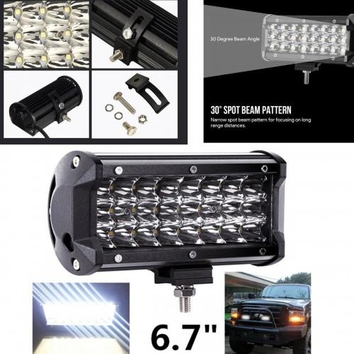 7 Inch LED Light Bar 72W Waterproof Driving Spot Light 3Row