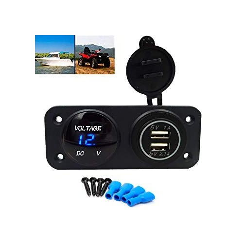 boat - Motorcycle Auto Dual Usb Charger Adapter With Volt Meter