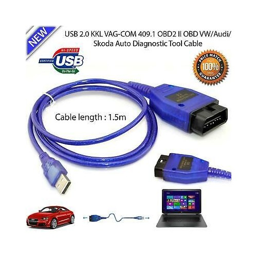 Diagnostic USB Cable OBD2 OBD-II for KKL409.1 VAG-COM 409.1 Audi VW Skoda