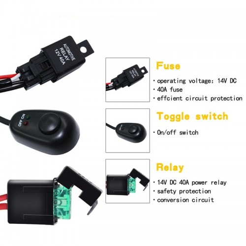LED Work Fog Light Bar Wiring Harness Relay Kit On/off Switch off Road