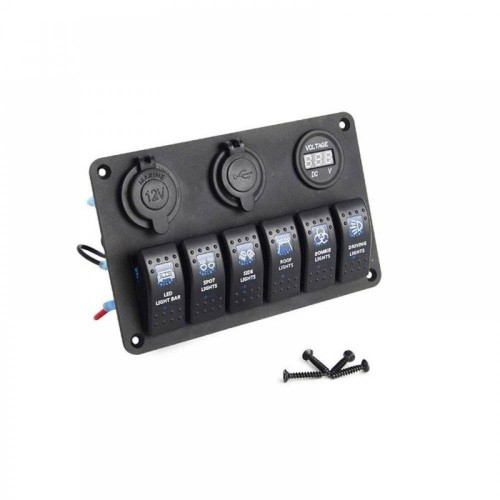 BREAKER 6 GANG WATERPROOF MARINE BOAT CIRCUIT BLUE LED AC DC 8-30V