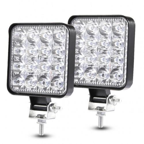 48W 30 Degree LED Flood Beam Lights Square Off-road Bulb Lamp Light Fog Lighting Exterior For Jeep Cabin/Boat/SUV/Truck