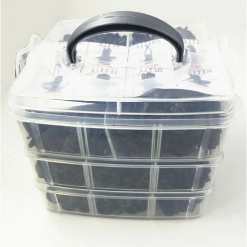630 Pcs Mixed Black 3 Layer Automobile Bumper Fender Car Door Trim Fastener Clip