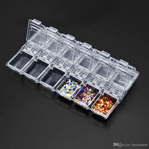 12 Empty Slots Plastic Nail Decoration Rhinestone Storage Box Case ...