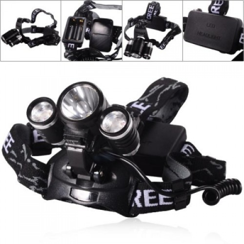 T6 3LED Headlamp Light 18650 Rechargeable Waterproof Head Lighting Torch