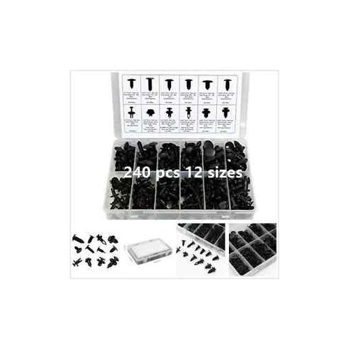 240pcs Auto Push Retainer Assortment Kit Car Shield Pin Rivet Fasteners