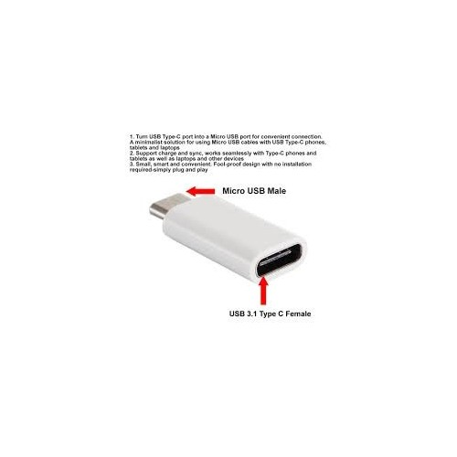 USB 3.1 Type-C to Micro USB with USB 2.0 Adapter