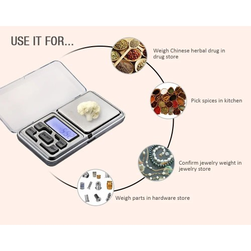 Mini Digital Pocket Scale 0.01g 200g 500g Electronic Jewelry Scales Gold Diamend Balance Lab Scales LCD Display