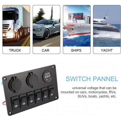 6 Gang LED Car Boat Switch Panel Dual USB Cigarette Lighter Socket Panel