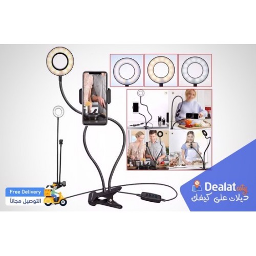Selfie LED Ring Light with Mobile Phone Holder Live Stream Makeup Camera Lamp - Black