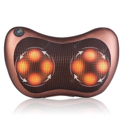 Electric Massager Heat Therapy Eight Nodes Neck Kneading Massage Pillow - Brown EU Plug, Eight Massage Nodes