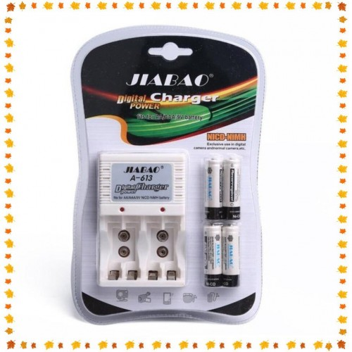 JIABAO A-613 Battery Charger With 4pcs AA Battery