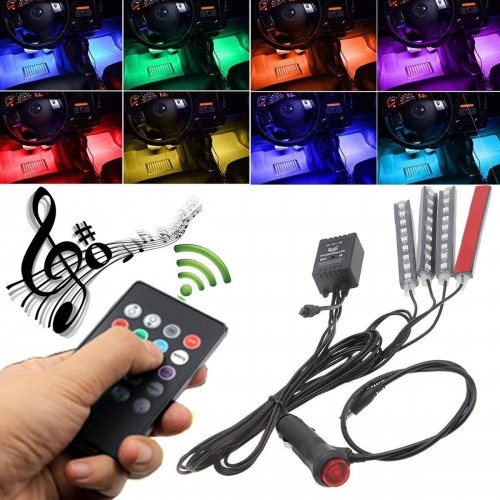4pcs Car Interior Atmosphere Lights with 8 Color 9 LED