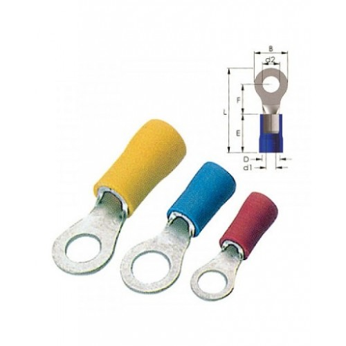 SINGLE-HOLE CABLE LUG INSULATED YELLOW 8.4-5.5 R5-8V