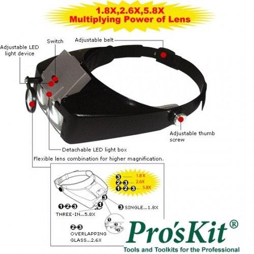 ProsKit MA-016 Personal Headband Magnifier 1.8X 2.6X 5.8X Glass Loupe,