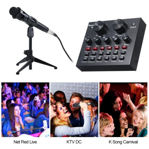 Audio Mixer Sound Card for Computer PC Live Sound with Microphone
