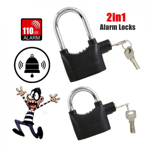 2 in 1 Waterproof Siren Alarm Padlock Alarm Lock For Motorcycle Short Bicycle
