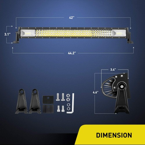 42inch 3-Row 648W LED Light Bar Offroad Combination Beam