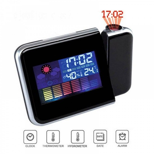 Multifunction Projection Alarm Snooze Clock Super Clear LCD Display with Detailed Weather Station - Black