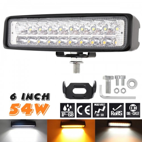 6 Inch 54W LED Work Light Bar White+Yellow SLIM LED 54W