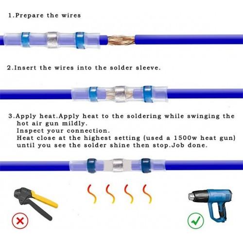 Waterproof Solder Sleeve Heat Shrink Butt Wire Splice Connectors Terminal
