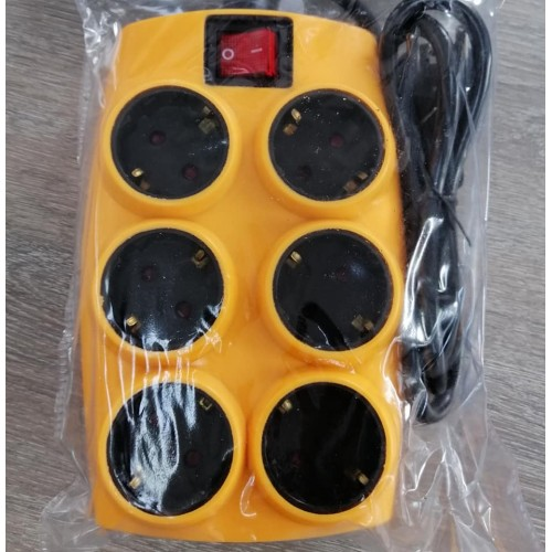 SOUKO ORANGE MULTIPLE SOCKET 6 POSITIONS WITH SWITCH