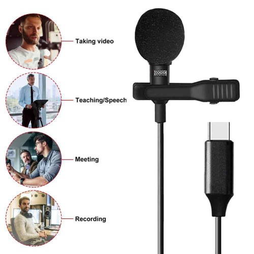 External Clip-on Lapel Lavalier USB 3.1 TYPE-C with 3.5mm Audio