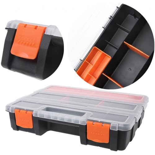 JUNESUN Plastic Carry Tool Storage Case Spanner Screwdriver Parts Hardware