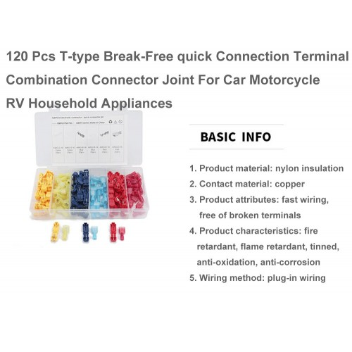 T-type break-free main line branch clamp combination boxed terminal, 120pcs