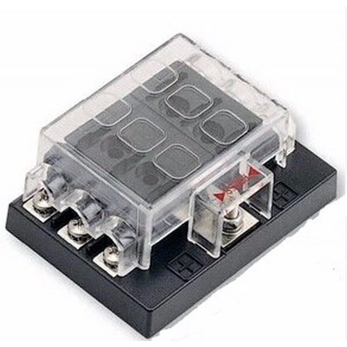 12V 24V 6 Way Blade Fuse Box with LED Indicator Fuse Block for Car Boat Marine Caravan