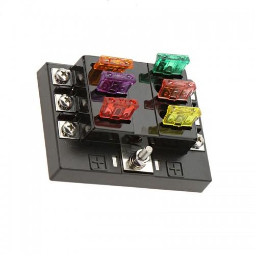 6 Way Blade Fuse Box with LED Indicator Fuse Block for Car Boat Marine Caravan 12V 24V