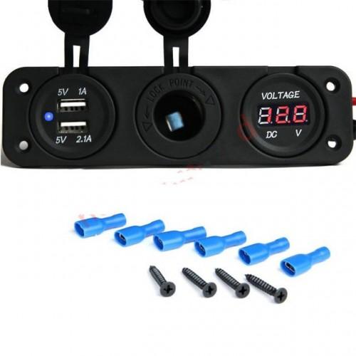 panel power socket dual usb car charger socket voltmeter Cigarette Lighter Socket +2.1A Dual USB