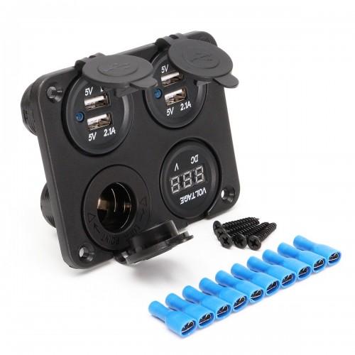 4 In 1 3.1A Dual USB Outlet Car Charger W/Cigarette Lighter Socket Voltmeter