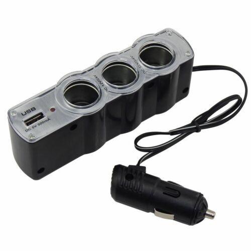 USB Triple Multiple Plug Car Adapter - 3 Cigarette Lighter+1 USB Port