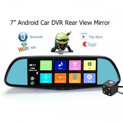 Android 4.4 system rearview mirror Bluetooth gps navigation dual camera 1080p car dvr