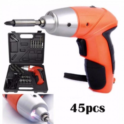 Cordless Rechargeable Handy Drill Screwdriver 45pcs Set