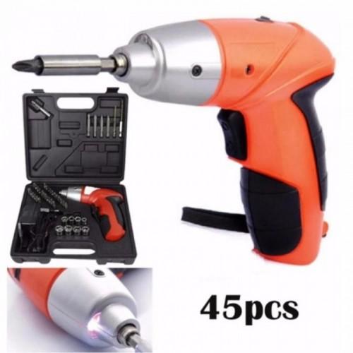 Cordless Rechargeable Handy Drill Screwdriver 45pcs Set