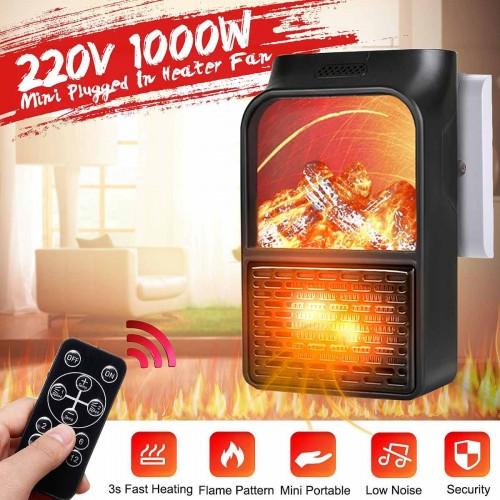 Portable Electric Ceramic Space Heater, Handy Plug-in Mini Heater with Remote Control, Digital Display Temperature Control