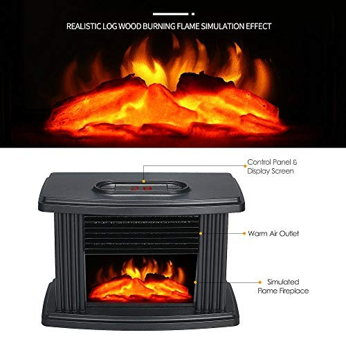 Mini Fireplace Electric Heater Furnace with Realistic 3D Flame