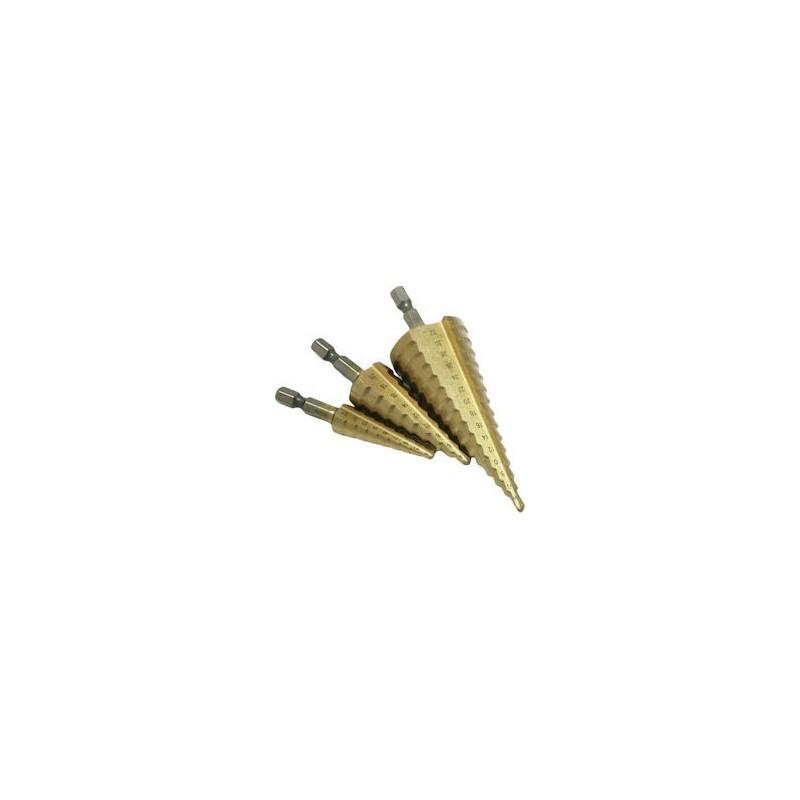 3PCS HSS Titanium Coated Straight Flute Stepped Drill Bits