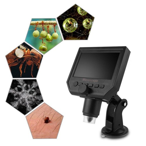"4.3"" LCD 8-LED 3.6MP 1-600x Portable LCD Digital Microscope Support 64G SD Card"