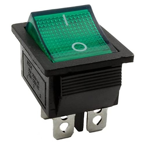 Luminous green rocker switch DPST 4 pin
