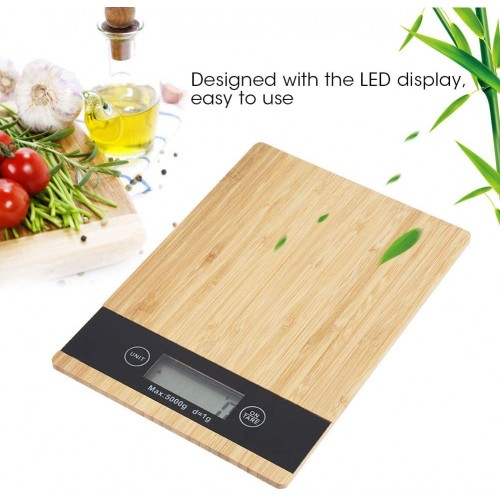 Bamboo Wood Grain Scale, 5Kg Kitchen Scale, High Precision Electronic Baking Scale