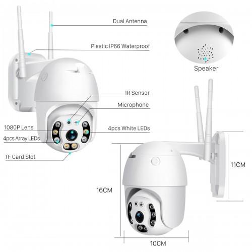 Camera Outdoor 1080P H.265 2MP ONVIF PTZ IP Wireless Dome Camera