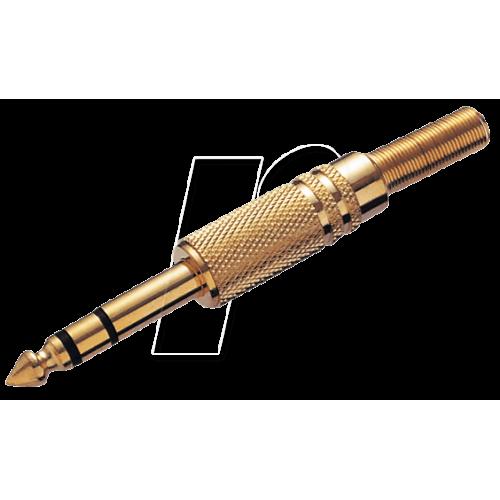 Jack plug 6,3mm (TRS) gold